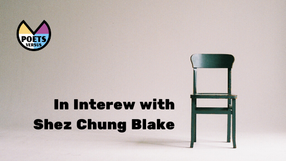 "White room with a black chair on the left with ""In interview with Shez Chung Blake"" in big letters."